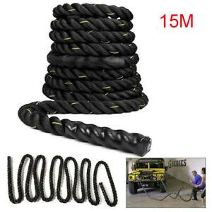15M 38mm Battle Rope Battling Sport Power Ropes Gym Exercise Fitness Training UK