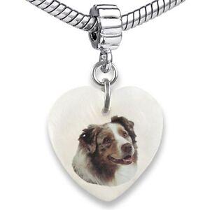 Australian Shepherd Dog Heart Natural Shell European Bracelet Charm Bead EBS196