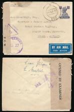 INDIA WW2 1944 HQ SOUTHERN COMMAND CENSOR U27 + 3 STRIKES of FIELD CENSOR 45
