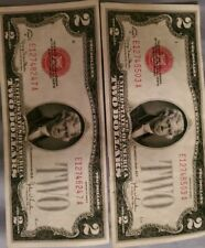 1928 G Two $2 Red Seal Legal Tender Notes Old Currency.