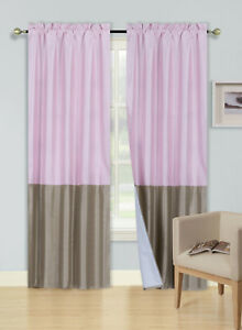 2PC FAUX SILK 2-TONE ASSORTER COLOR WINDOW CURTAIN PANEL ROD POCKET (ANY)