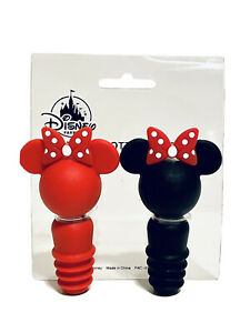 Disney Parks Minnie Mouse Bow Ears Bottle Stopper Set of 2 Wine Cork NEW