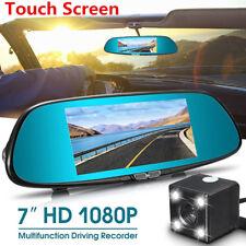 7'' Dual Lens HD 1080P Car Dash Cam DVR Video Camera Recorder w/ Rearview Mirror
