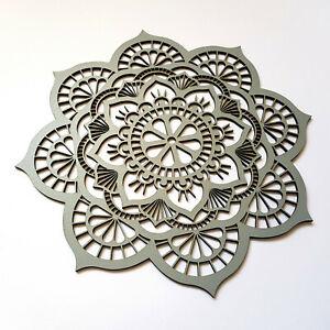 Floral Mandala Wooden Wall Art Home Decor Sacred Geometry Ornament Gift