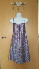 Ladies purple floral glossy slippery satin chemise slip – Size 12 – Per Una