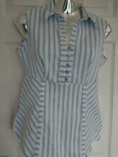 M&S summer blouse size 10 pale blue white Stripe stretchy