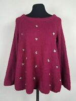 LC Lauren Conrad Womens Size XS Sweater Loose Fit Knit Sequin Berry Pink Top