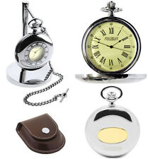 Jean Pierre Half Hunter Pocket Watch & Stand Chrome, Quartz ,Free Engraving D24