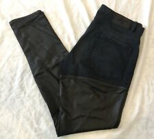 BCBG Generation Women Black Thigh High Faux Leather Jean Pants Leggings  27