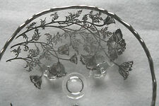 Vntg Glass Tray Footed Candy Dessert Silver Flowers Overlay Scalloped Edges