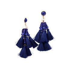 Boucles d`Oreilles Clou Doré Chandelier Pompon Bleu Marine Baroque Ethnique XX21