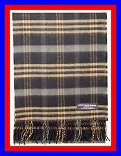 100% Cashmere Scarf Black Camel Check Plaid Scottish Nova Wool Infinity Men Z313