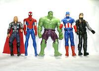 "Marvel Avengers Lot Of 5 12"" Action Figures Capt Am,Thor,Hulk,Spidey"