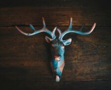 Stags Head Coat Hook/Heavy Cast Iron/Rustic/Painted/Deer/Teal & Copper Finish