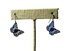 Pierced Earrings Blue Butterfly Dangle Fishhook