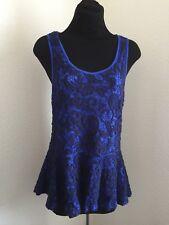 Anthropologie Meadow Rue Top/Tank Peplum Blue Crochet Lace Sleeveless size Small