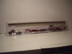DCP FIRST GEAR 1/64 RED KW T800 W/T SLEEPER 30'' BRIDGE BEAM LOWBOY HYDRASTEER