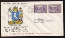 Canada FDC 1949 sc#283 Founding Halifax pair, cachet by Nova Scotia Stamp Club