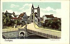 ESSLINGEN Neckar ~1900 Partie a.d. Brücke mit Blick zur Kirche mit Burg color AK