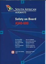 Safety Card - South African Airways - A340 600  - 2002  (S3803)