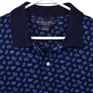 Brooks Brothers Men's Large Original Fit Paisley Blue Navy Polo Shirt