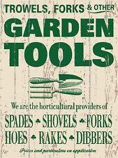 Nuevo 15x20cm herramientas de jardín pequeñas Metal Publicidad Cartel De Pared