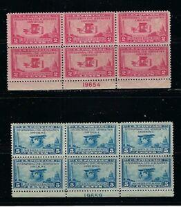 US Stamps-Scott # 649-650/A194-A195-2 Blocks of 6-Mint/NH-1928-OG-Flat Plate