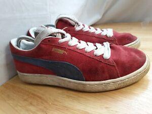 Puma Suede Classic Red Blue Trainers Size Uk 9 Retro Casuals