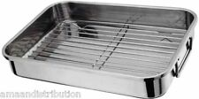 STAINLESS STEEL ROASTING TRAY OVEN PAN DISH BAKING ROASTER GRILL 27 x 20cm