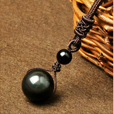 100% Natural Obsidian Black Jade Agate Pendant Rround Lucky Bead Ball A23