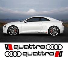 2 x AUDI QUATTRO LOGO RINGS CAR VINYL STICKERS / DECALS SIDE SKIRT GRAPHICS