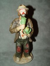 "Emmett Kelly Jr. Porcelain Figure/Figurine-Flambro-E ating Cabbage 8"" Tall"