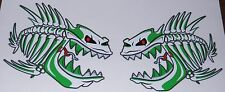 "(2) Skeleton Fish  Vinyl Decals Boat Car Truck Fishing  5.75"" x 6""  Green"