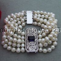 """S101912 8/"""" 10x13mm Riz Blanc eau douce Perle Bracelet Papillon CZ Connecteur"""
