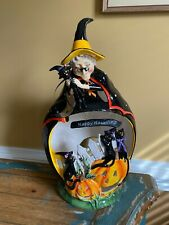 New Clayworks Blue Sky Heather Goldmine Large Halloween Witch, Cats, Pumpkin