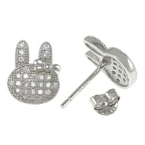 MIFFY-Kitty-Cathy-Rabbit-Ribbon/Bow- Stud earrings-Solid 925 Sterling silver-CZ
