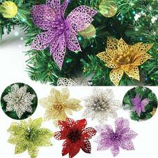 5 Pcs Artificial Hollow Glitter Christmas Flower Xmas Tree Wedding Party Decor