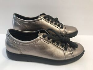 ECCO Women's sneakers metallic Soft Leather Lace Up Size 36EUR Extra Wide