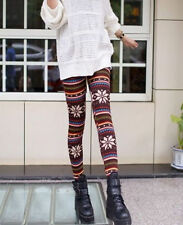 Knitted Nordic Insulated Leggings Thick Warm Winter Pants Deer Snowflakes