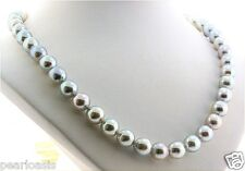 """8MM - 9MM Silver Gray Japanese Akoya Pearl Necklace, 14K Gold Clasp, 20"""" NEW"""