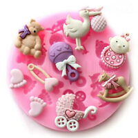 Baby Shower Silicone Fondant Cake Mould Mold Chocolate Baking Sugarcraft Decor