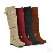 Women Faux Suede Knee High Boots Wedge Hidden Heel Casual Buckle Mid Calf Bootie