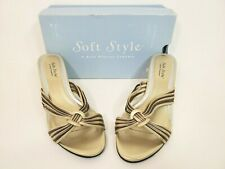 Soft Style by Hush Puppies Sandals Size 11 NEW  Gold Slip On Wedge Heel NWT