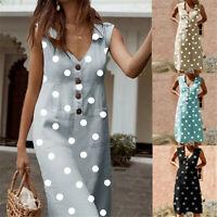 Mode Femme V Col  Robes D'été Retro  Polka dot  Bohème Col en V Maxi Robe