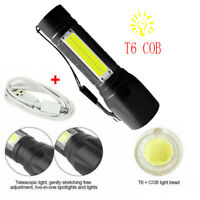 Portable T6 COB/LED Tactical USB Rechargeable Zoomable Flashlight Torch Lamp Hot