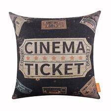 "118"" Vintage Black Cinema Ticket Linen Cushion Cover Pillow Case Sofa Decor"