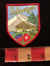 Vtg SCHWEIZER Switzerland NONEMBROIDERED VERSION Patch Snow Mountain Lodge 84V9