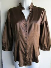 Express $59 NWT Brown Accordian pleat mandarin collar Silk Career Shirt XS