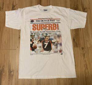 Vintage 1998 Gildan Denver Broncos Denver Post Super Bowl Champs Men's Large