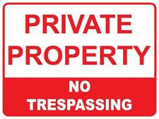 (2 X SIGNS) PRIVATE PROPERTY NO TRESPASSING - 300 X 200MM - 3MIL CORFLUTE